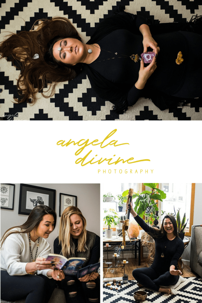 These pictures are from a personal brand photography session for Ascension Coach / Starfire Coaching, who helps seekers, leaders, and entrepreneurs live their highest truths and unlock their limitless potential. The photos portray the rituals and routines she uses on herself and her clients. | Angela Divine Photography | Minneapolis wedding + brand photographer | #branding #personalbrand  #minnesota #spirituality #wellness | https://angeladivinephotography.com/branding-photos-for-ascension-coach
