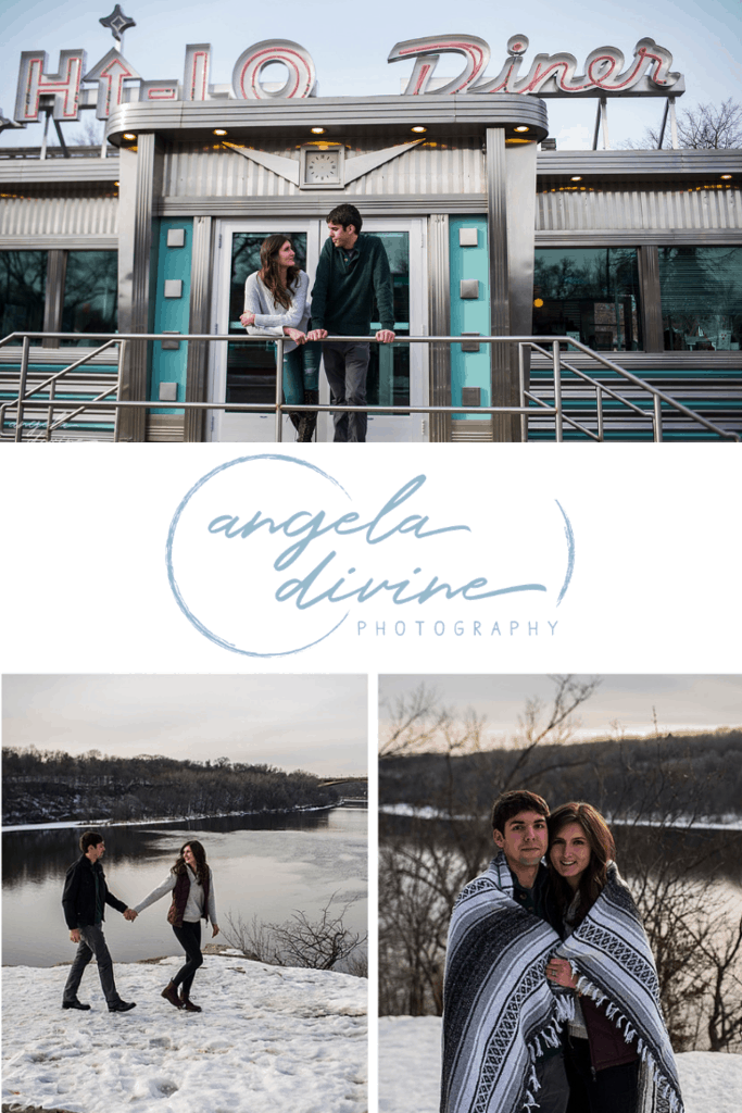 These photos are from a winter engagement session at the Hi-Lo Diner and Mississippi Gorge Park. Visit my blog for more photos from this magical photo session. | Angela Divine Photography | Minneapolis wedding + brand photographer | #engagement #engagementphotos #engagementsession | https://angeladivinephotography.com/hi-lo-diner-engagement-session-erin-will