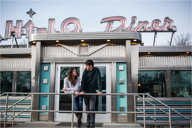 Hi-Lo diner engagement session milkshake