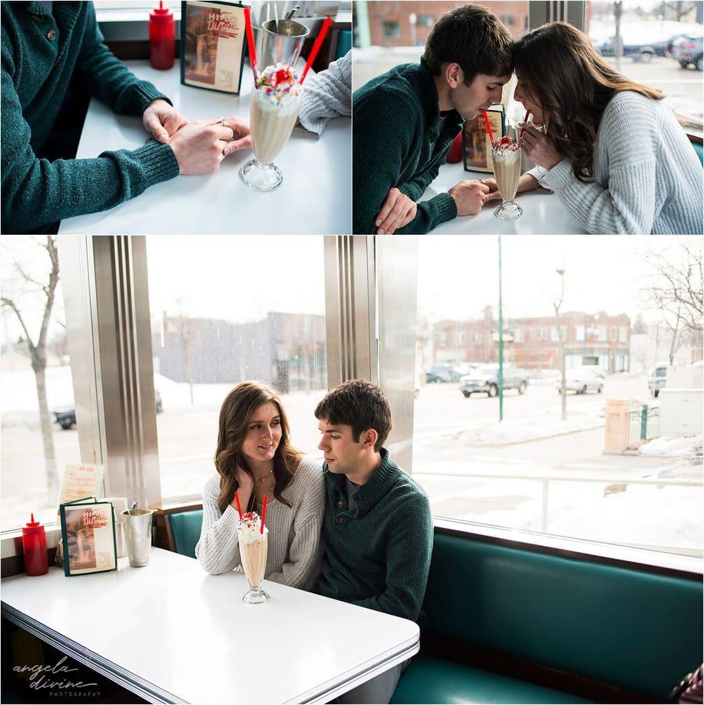 Hi-Lo diner engagement session sharing a milkshake