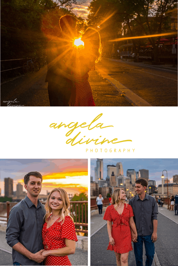 These photos are from a summer engagement session at St. Anthony Main and the Stone Arch Bridge near Minneapolis. Visit my blog for more photos from this lovely photo session.   Angela Divine Photography   Minneapolis wedding + brand photographer   #engagementshoot #engagementsession #summerengagementphotos   https://angeladivinephotography.com/stone-arch-bridge-engagement/