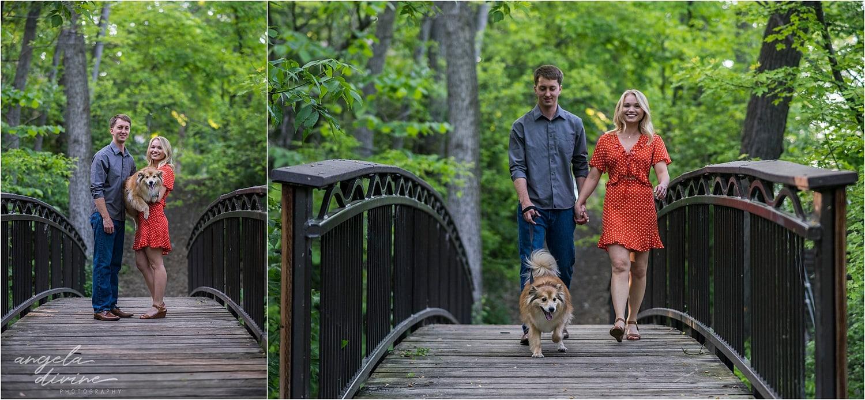 Stone Arch Bridge Engagement couple with dog