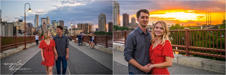 Stone Arch Bridge Engagement sunset walk