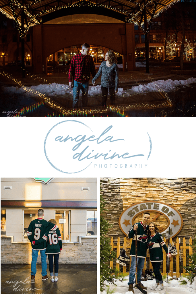 These photos are from an engagement session I shot at the Xcel Energy Center and Mears Park last winter. The trees sparkled with lights from the holiday season adding to the beauty. | Angela Divine Photography | Minneapolis wedding + brand photographer | #engagement #engagementsession #engagementphotos #photographer | https://angeladivinephotography.com/xcel-energy-center-engagement-session