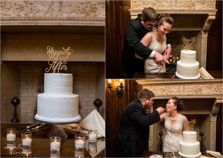 Gale Mansion Fall Wedding cake cutting