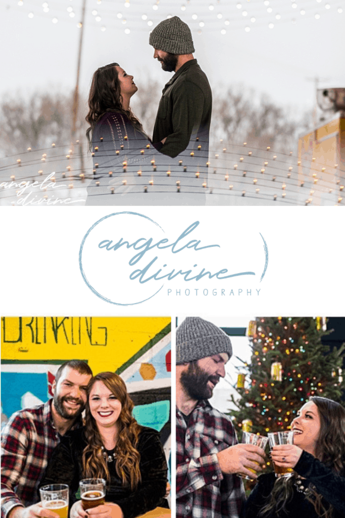 These photos are from a winter engagement session I photographed at a Bauhaus Brew Lab in Minneapolis. Visit my blog for more photos from this fun photo session.  | Angela Divine Photography | Minneapolis wedding + brand photographer | #engagementshoot #engagementsession #winterengagementphotos | https://angeladivinephotography.com/bauhaus-brew-engagement-session/