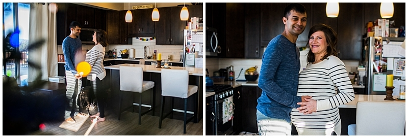 Minneapolis lifestyle maternity session in the kitchen