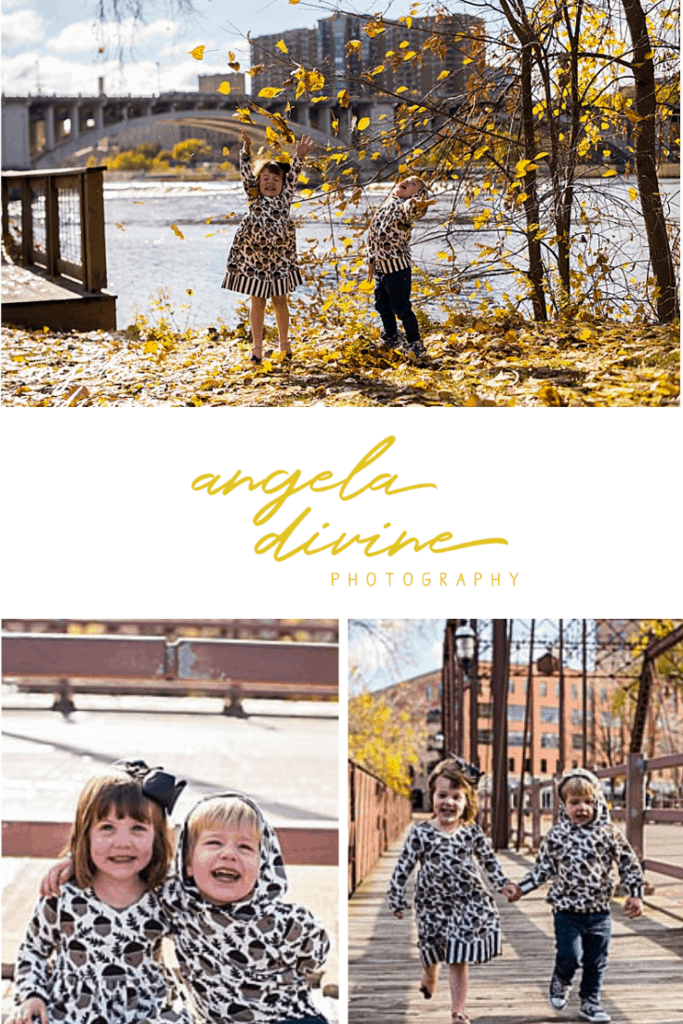 These photos are from a family photo session I did at the Nicollet Island Pavilion with fall leaves and bridges as the backdrops. Check out more photos of these adorable twins on my blog. | Angela Divine Photography | Minneapolis wedding + brand photographer | #family #portraits #fall #minnesota | https://angeladivinephotography.com/nicollet-island-pavilion-family-session-maddi-wyatt