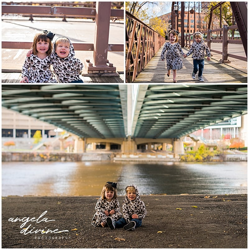 Nicollet Island Pavilion Family Session bridges