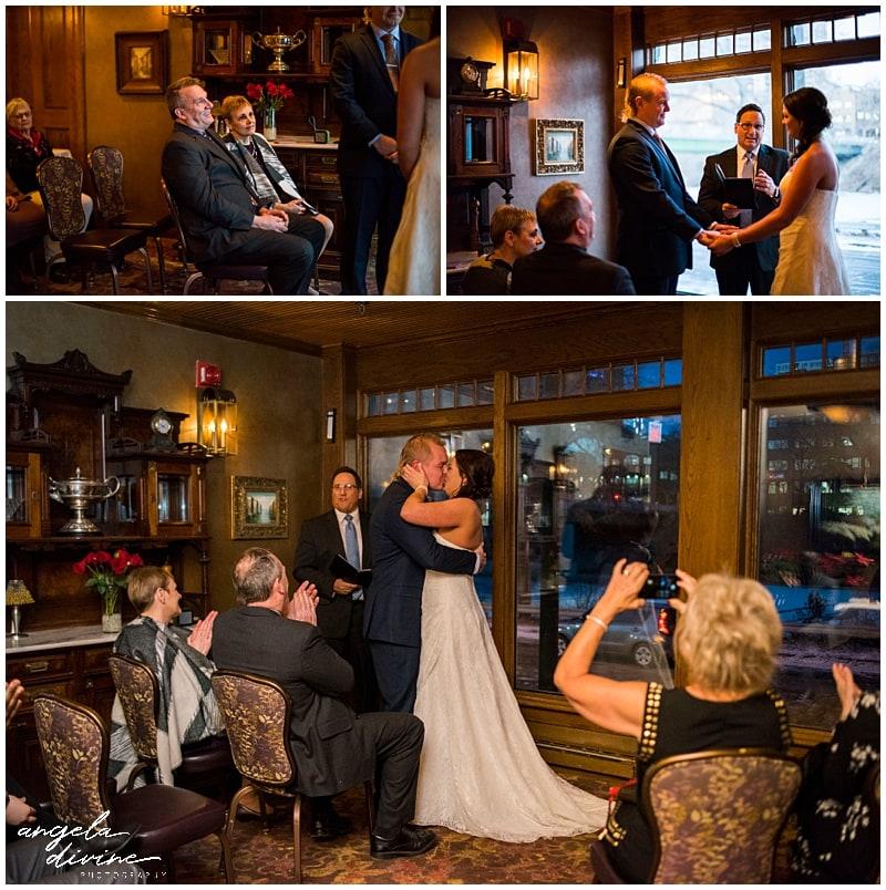 Nicollet Island Inn Winter Wedding ceremony
