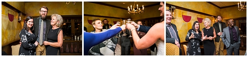 Nicollet Island Inn Winter Wedding champagne toast with family