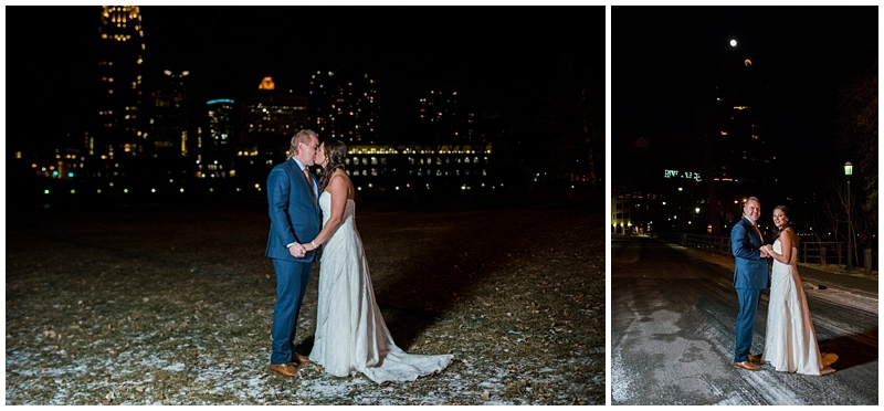 newlyweds and skyline at night