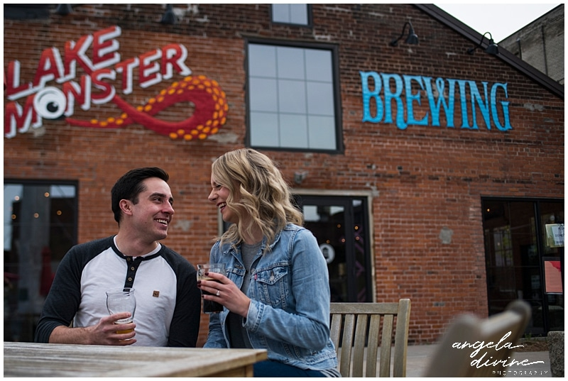 Lake Monster Brewing Engagement Session couple laughing