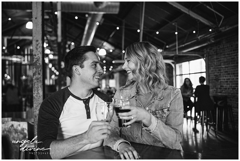 Lake Monster Brewing Engagement Session toast