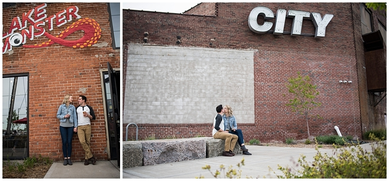 Lake Monster Brewing Engagement Session brick wall background