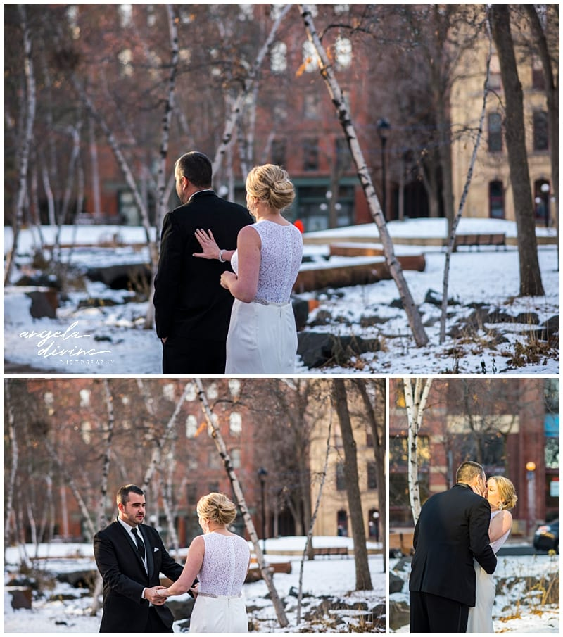 Winter St. Paul Wedding first look