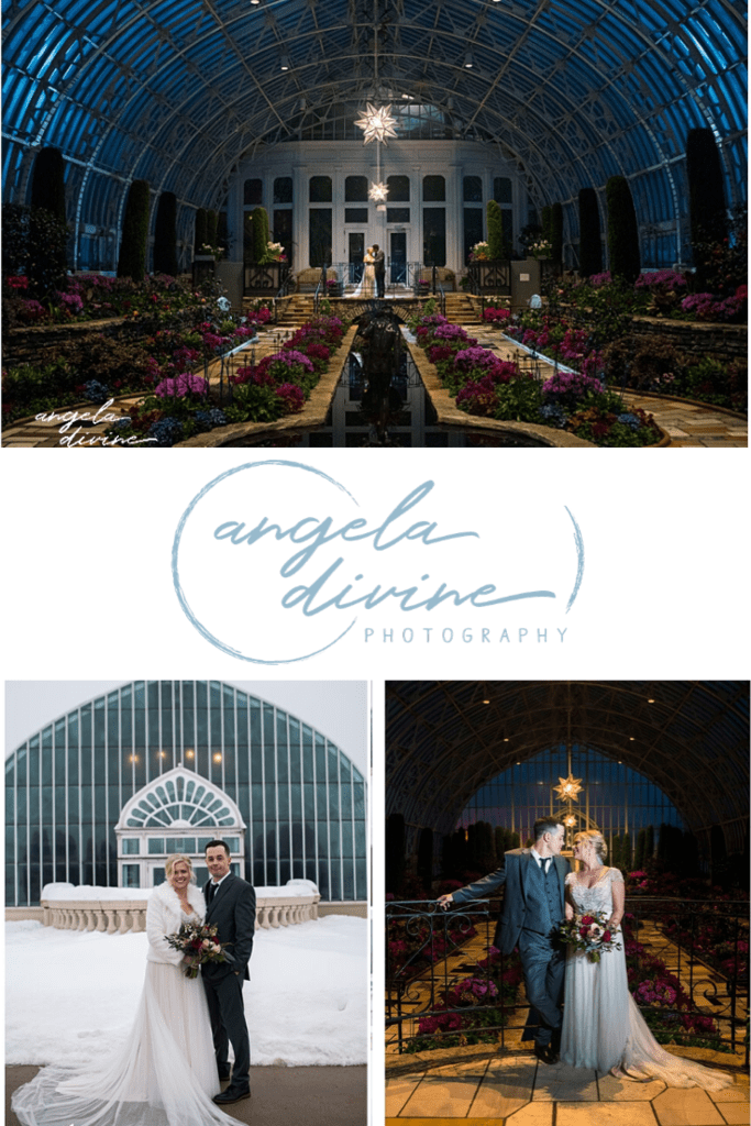 These pictures are from a winter wedding I photographed at the Como Conservatory and with an intimate reception at W.A. Frost. Head to the link below to see more of their beautiful ceremony and reception. | Angela Divine Photography | Minneapolis wedding + brand photographer | #wedding #minnesota #winterwedding | https://angeladivinephotography.com/como-conservatory-wedding-caitlin-justin