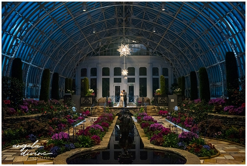 Como Conservatory Wedding bride and groom