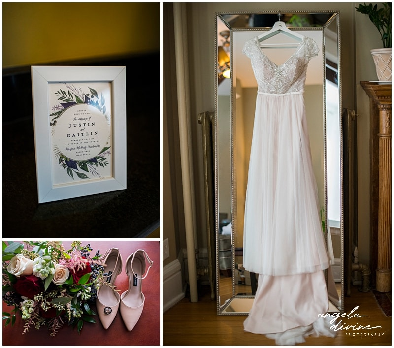 wedding gown shoes bouquet and invitation