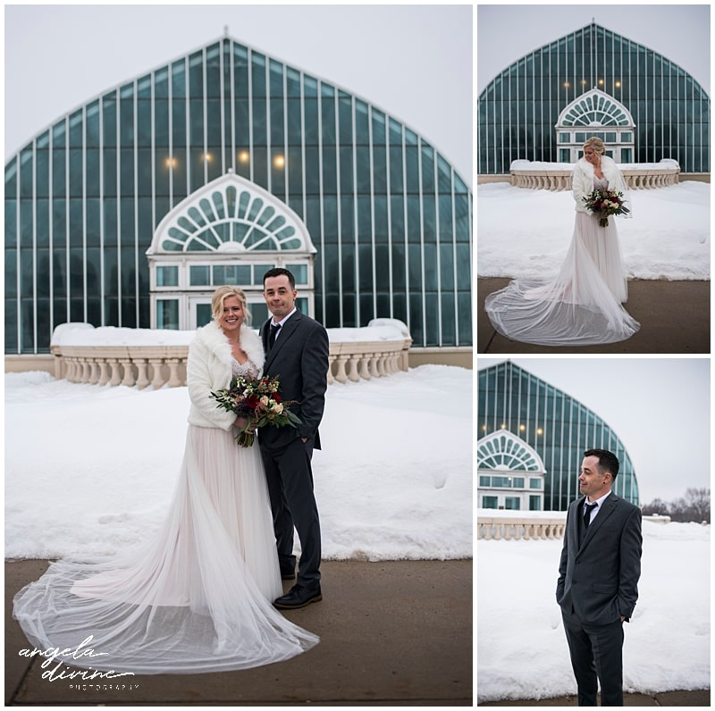 Como Conservatory Wedding bride and groom in the snow