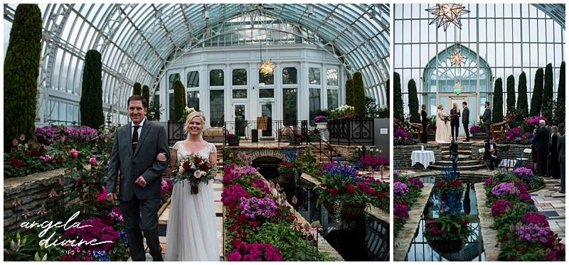 Como Conservatory Wedding walking down the aisle
