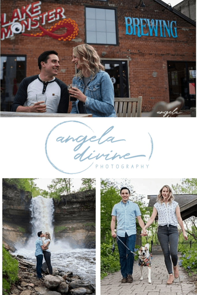 These photos are from a summer engagement session I photographed at Lake Monster Brewing and Minnehaha Falls. Visit my blog for more fun pictures of this great couple and their dog, Timber. | Angela Divine Photography | Minneapolis wedding + brand photographer | #engagementshoot #engagementsession #summerengagementphotos #brewery #waterfall | https://angeladivinephotography.com/lake-monster-brewing-engagement-session