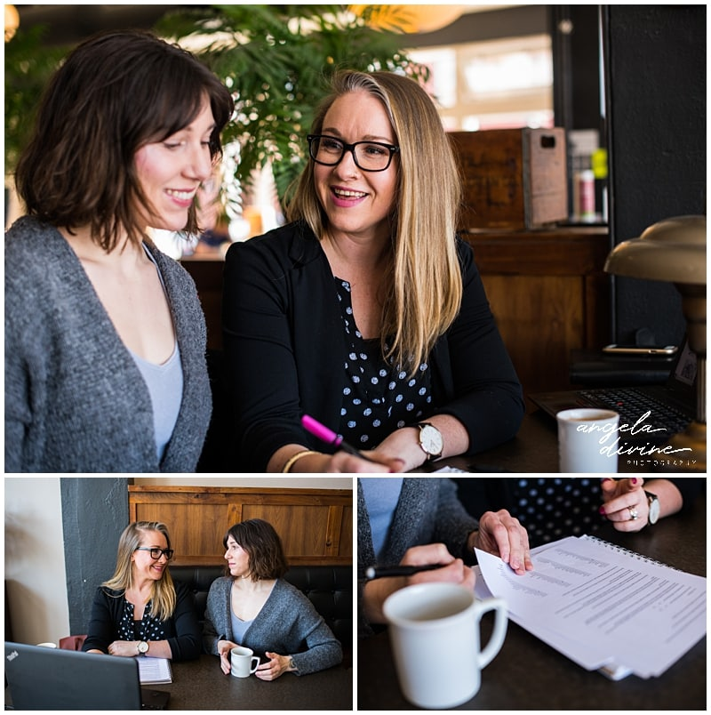 Minneapolis Brand Photography for Website Designer coffee shop meeting
