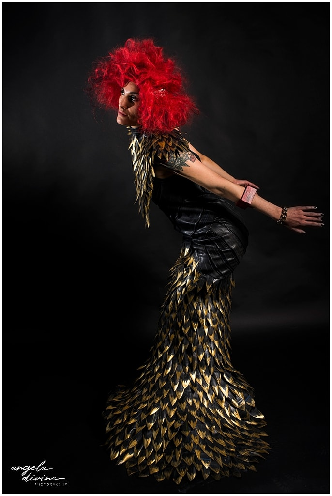 Minneapolis fashion photography inner tube dress and red wig
