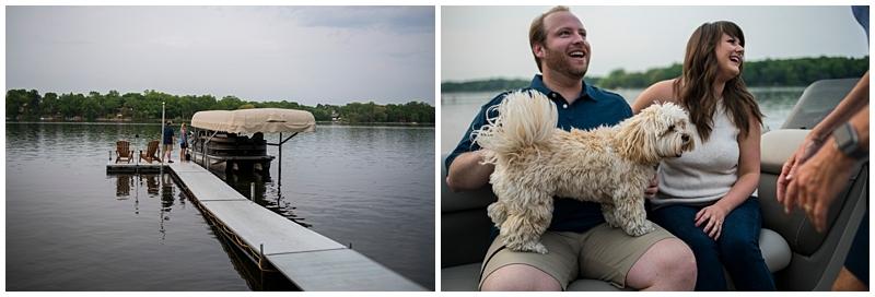 pontoon boat with dog