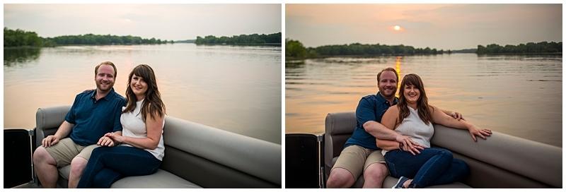 Downtown Wayzata Engagement Session pontoon boat at sunset