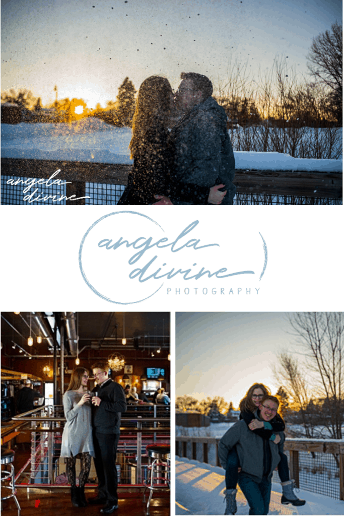 These photos are from a winter engagement session at Wicked Wort Brewery and Crystal Lake in Robbinsdale, Minnesota. Visit my blog for more photos from this fun photo session. | Angela Divine Photography | Minneapolis wedding + brand photographer | #engagement #engagementphotos #engagementsession #winterengagementphotos | https://angeladivinephotography.com/wicked-wort-brewery-engagement/
