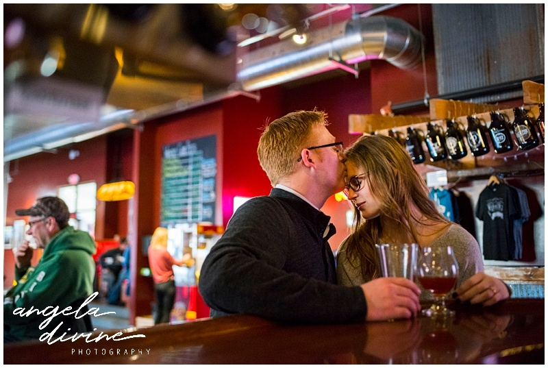 Wicked Wort Brewery Engagement forehead kiss