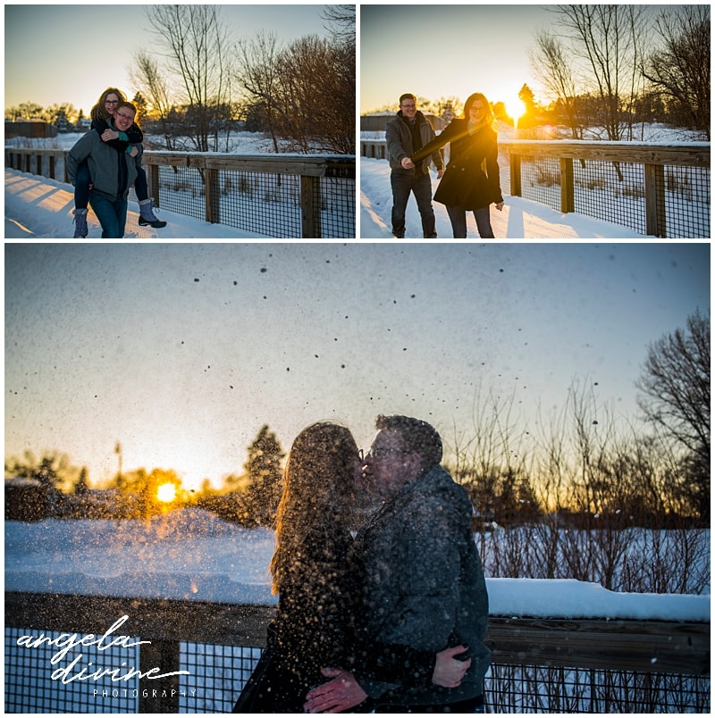 Wicked Wort Brewery Engagement couple walking in snow