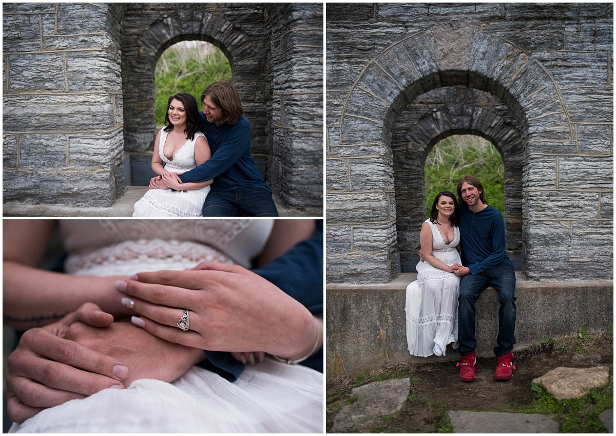 stone arches and engagement ring