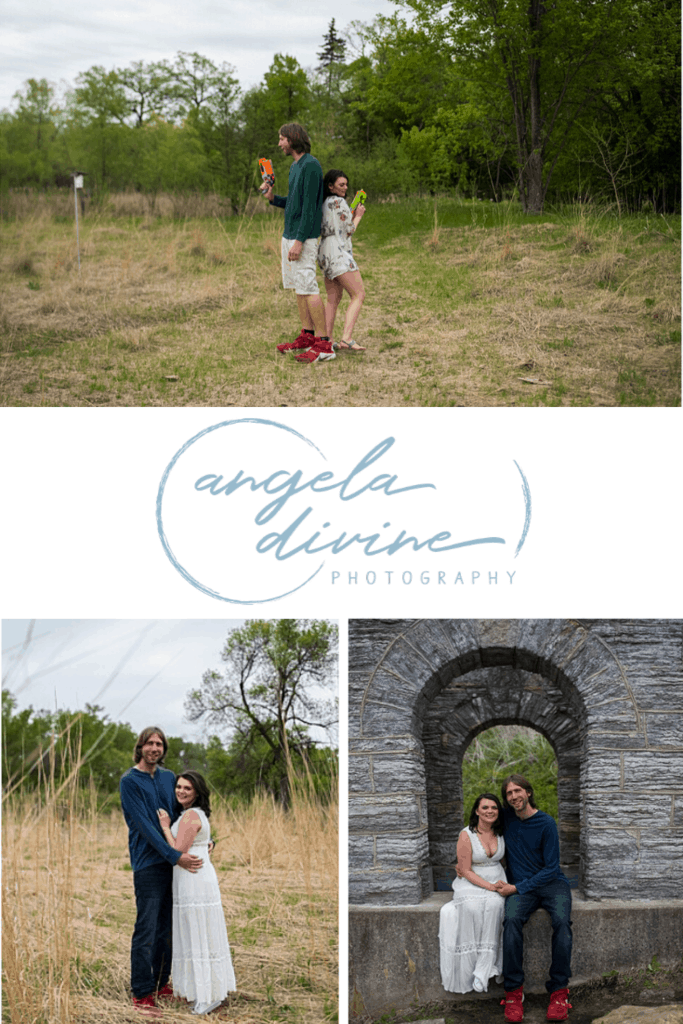 These photos are from a spring engagement session at Cold Water Spring and Longfellow Gardens. They both love Nerf guns, so I had them grab their gear and have a Nerf gun fight while I photographed the battle. Visit my blog for more photos from this fun photo session! | Angela Divine Photography | Minneapolis wedding + brand photographer | #engagementshoot #engagementsession #springengagementphotos #nerfgun | https://angeladivinephotography.com/nerf-gun-fight-engagement-session-bryanna-tyler/