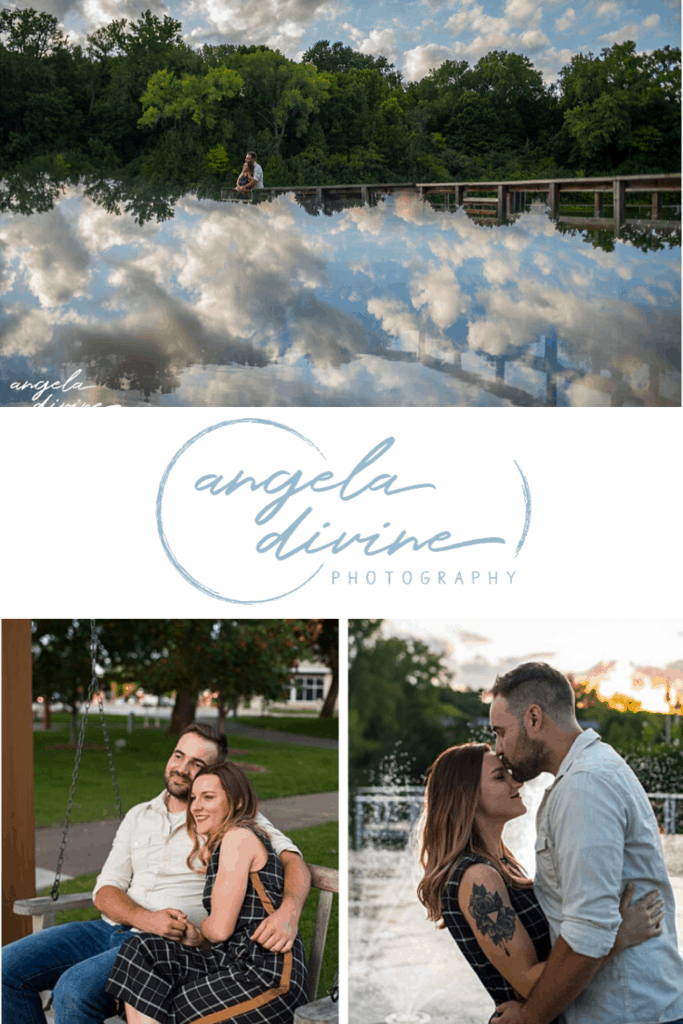 These photos are from a summer engagement session done at sunset in Firemen's Park in Chaska, Minnesota. Visit my blog for more photos from this fun photo session.   Angela Divine Photography   Minneapolis wedding + brand photographer   #engagementshoot #engagementsession #summerengagementphotos   https://angeladivinephotography.com/firemens-park-chaska-engagement-session-megan-billy
