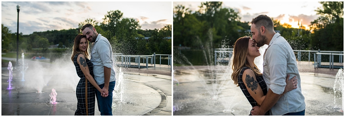 Firemen's Park Chaska Engagement Session water fountains