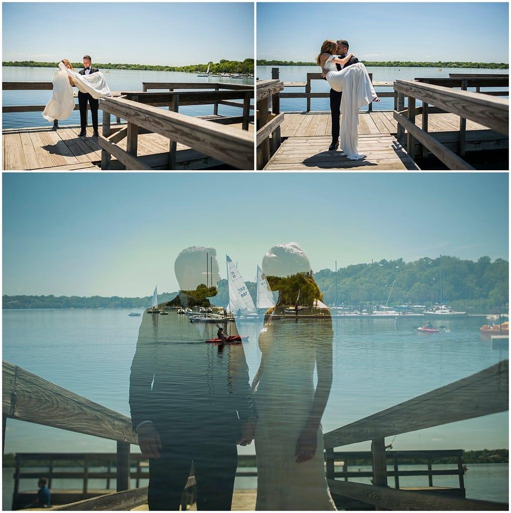 bride and groom by Lake Harriet