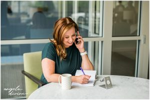 Minnesota Brand Photography for Marketing Consultant talking on the phone