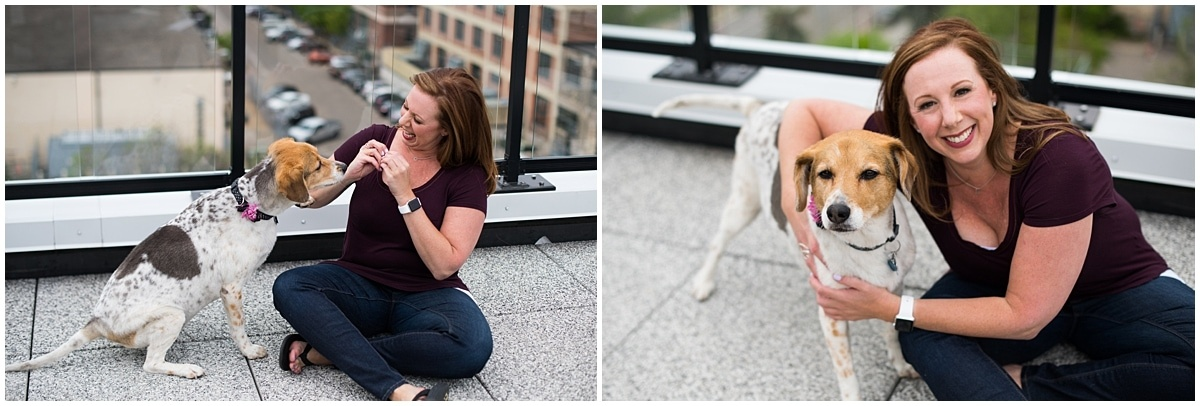 Minnesota Brand Photography for Marketing Consultant posing with dog