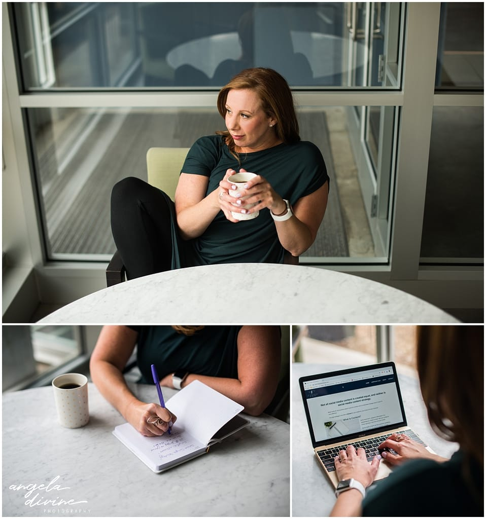 Minnesota Brand Photography for Marketing Consultant coffee and work