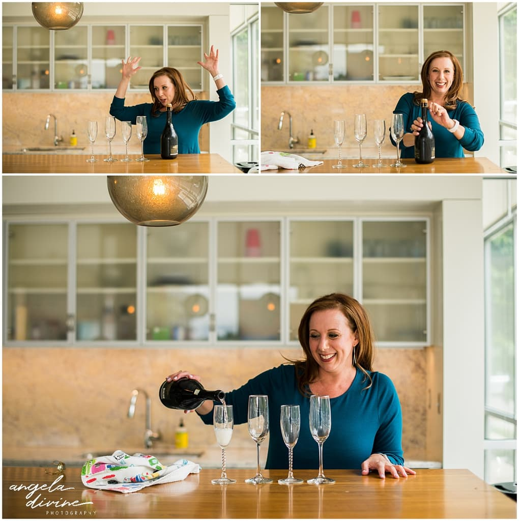 Minnesota Brand Photography for Marketing Consultant popping champagne