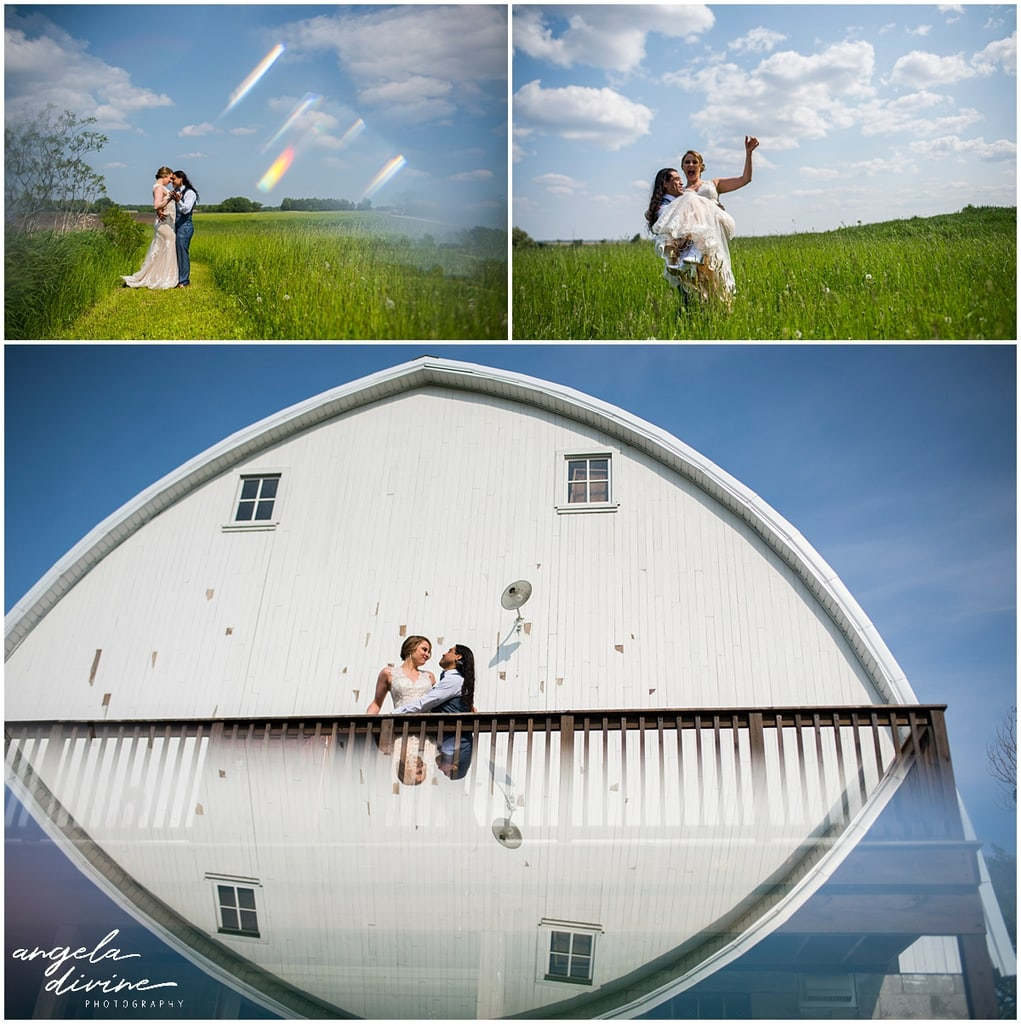 bride and groom posing in field and on deck