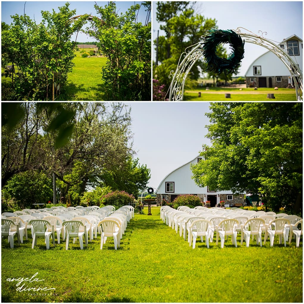 Rubies and Rust Wedding ceremony seating