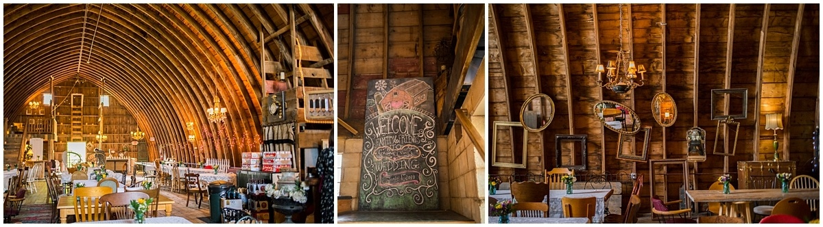 rustic barn wedding reception setup