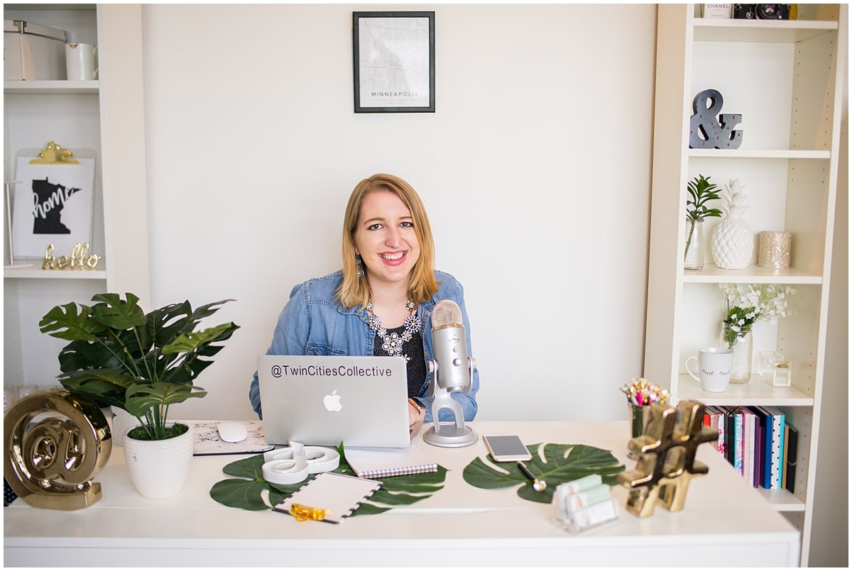 Twin cities collective brand photography session solopreneur using laptop