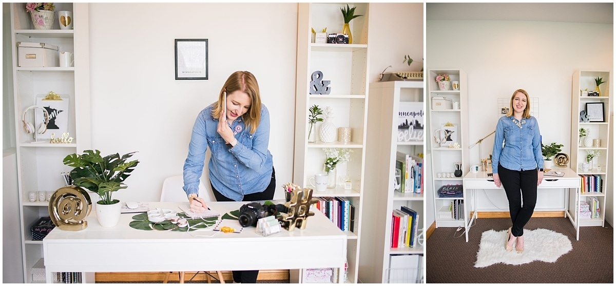 Twin cities collective brand photography session solopreneur in her office