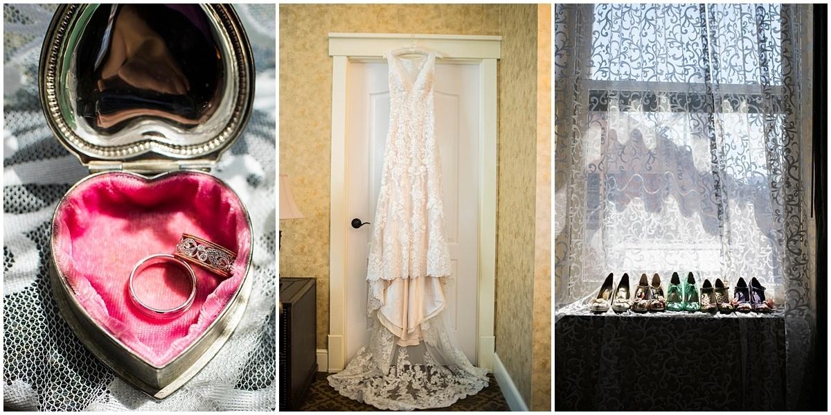 Northfield backyard wedding rings dress and shoes