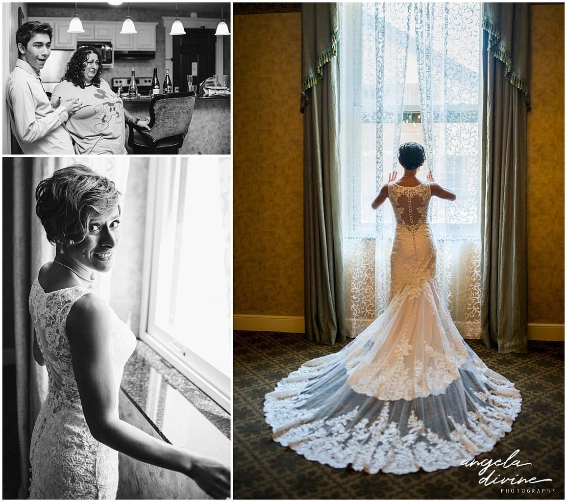 wedding dress detail and train