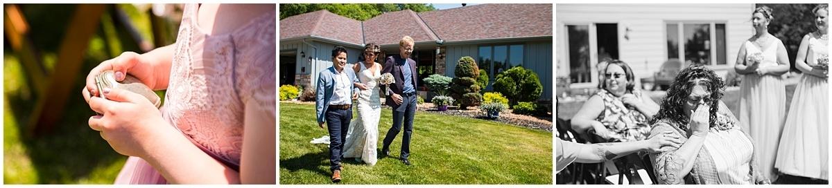Northfield backyard wedding walk down the aisle